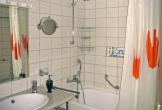 Badezimmer mit Dusche, WC, Fön und Sitzbadewanne