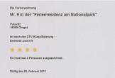 4-Sterne-DTV-Zertifizierung für die Wohnung 9 in der Ferienresidenz am Nationalpark