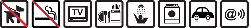 Hunde nicht erlaubt, Nichtraucherwohnung, TV vorhanden, Geschirrspülmaschine, Dusche, Münz-Waschmaschine und -Wäschetrockner, Parkplatz auf dem Gelände, Funknetz WLan