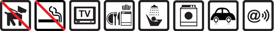 Hunde nicht erlaubt, Nichtraucherwohnung, TV vorhanden, Geschirrspüler, Dusche, Waschmaschine, Parkplatz auf dem Gelände, Funknetz WLan