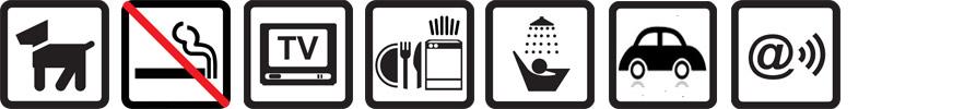 Hunde erlaubt, Nichtraucherwohnung, TV vorhanden, Geschirrspüler, Dusche, Parkplatz auf dem Gelände, Funknetz WLan