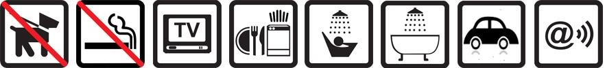 Hunde nicht erlaubt, Nichtraucherwohnung, TV vorhanden, Geschirrspüler, Dusche, Sitzbadewanne, Parkplatz auf dem Gelände, Funknetz WLan