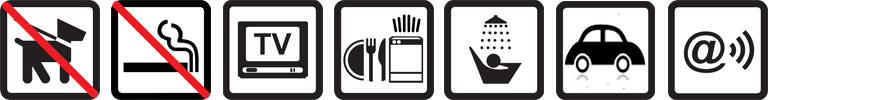 Hunde nicht erlaubt, Nichtraucherwohnung, TV vorhanden, Geschirrspüler, Dusche, Parkplatz auf dem Gelände, Funknetz WLan