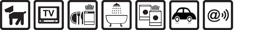 Hunde erlaubt, TV vorhanden, Geschirrspülmaschine, Badewanne, Münz-Waschmaschine und -Wäschetrockner, Parkplatz auf dem Gelände, Funknetz WLan