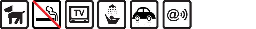 Hunde erlaubt, Nichtraucherwohnung, TV vorhanden, Dusche, Parkplatz auf dem Gelände, WLAN