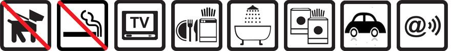 Hunde nicht erlaubt, Nichtraucherwohnung, TV vorhanden, Geschirrspülmaschine, Badewanne, Münz-Waschmaschine und -Wäschetrockner, Parkplatz auf dem Gelände, Funknetz WLan