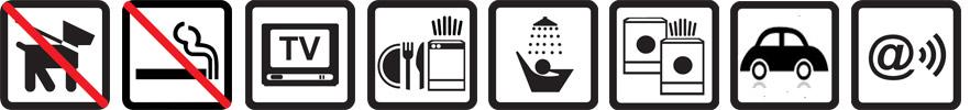 Hunde nicht erlaubt, Nichtraucherwohnung, TV vorhanden, Geschirrspülmaschine, Dusche, Waschtrockner, Parkplatz auf dem Gelände, Funknetz WLan