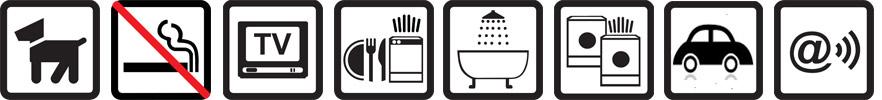 Hunde erlaubt, Nichtraucherwohnung, TV vorhanden, Geschirrspülmaschine, Badewanne, Münz-Waschmaschine und -Wäschetrockner, Parkplatz auf dem Gelände, Funknetz WLan