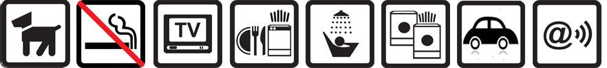 Hunde erlaubt, Nichtraucherwohnung, TV vorhanden, Geschirrspülmaschine, Dusche, Waschmaschine+-trockner, Parkplatz auf dem Gelände, Funknetz WLan