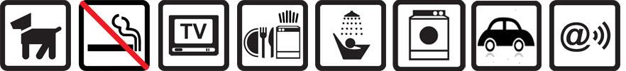 Hunde erlaubt, Nichtraucherwohnung, TV vorhanden, Geschirrspülmaschine, Dusche, Waschmaschine, Parkplatz auf dem Gelände, Funknetz WLan