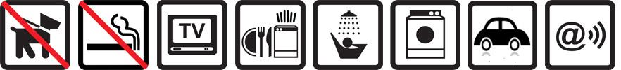 Hunde nicht erlaubt, Nichtraucherwohnung, TV vorhanden, Geschirrspülmaschine, Dusche, Waschmaschine, Parkplatz auf dem Gelände, Funknetz WLan