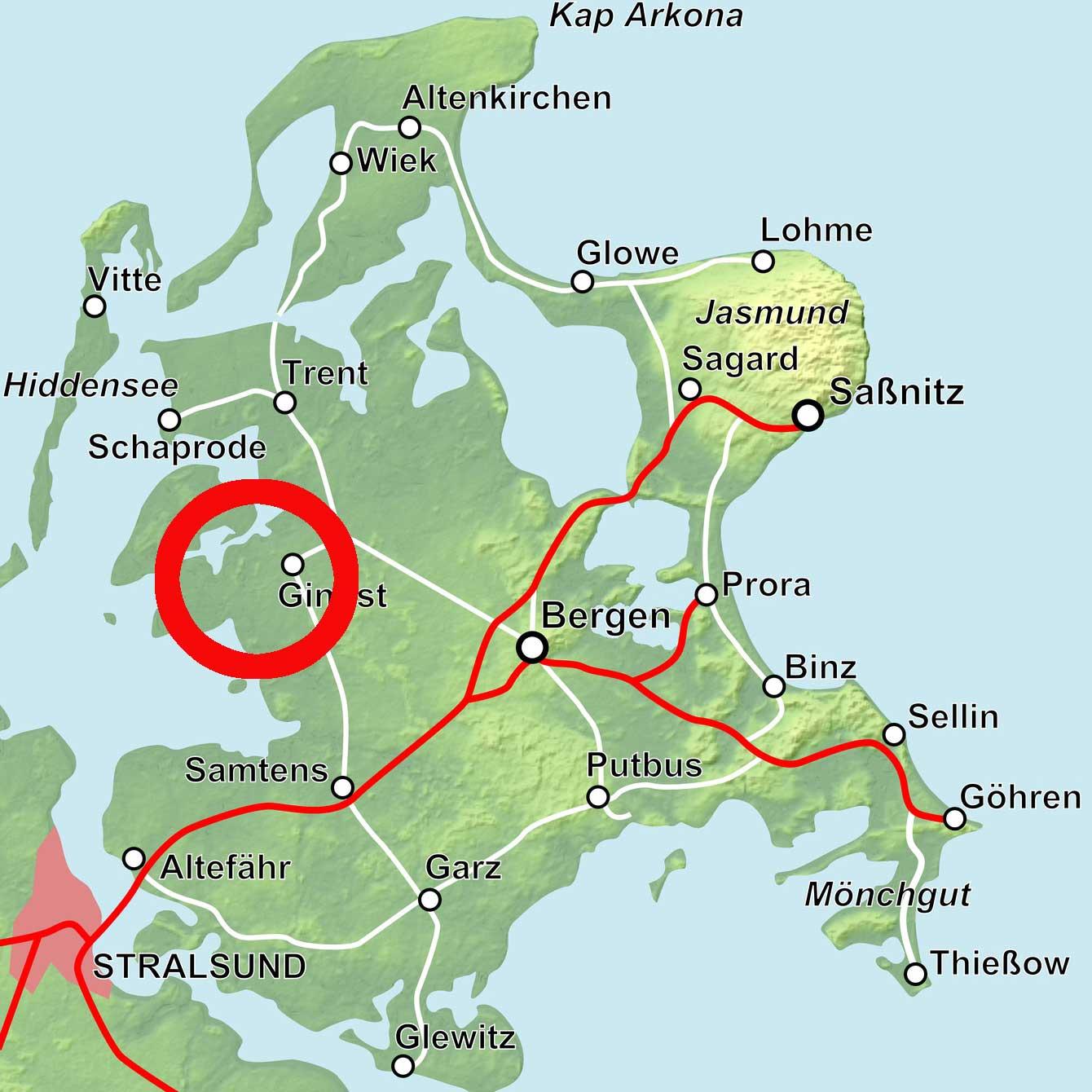 Karte Rügen West
