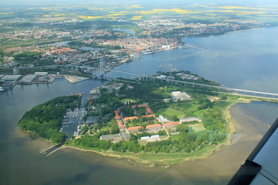 Luftbild der Insel Dänholm