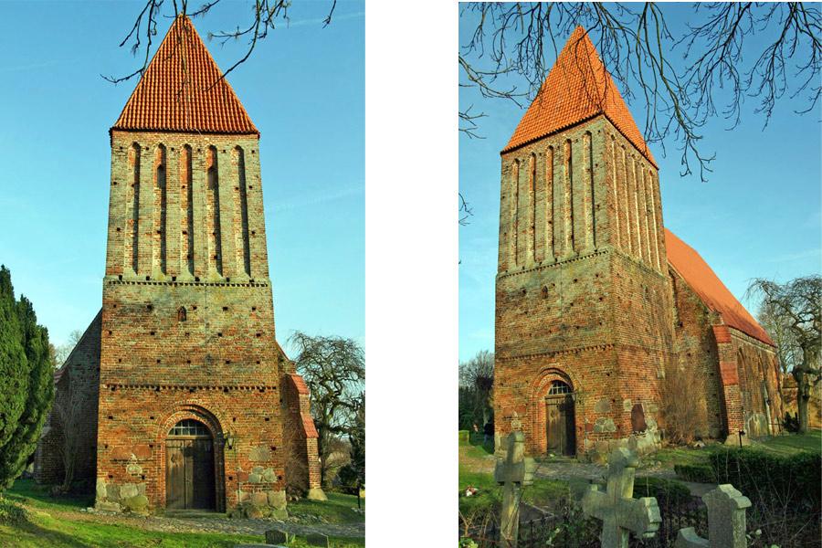 Turm der ev. Kirche St. Andreas in Lancken-Granitz im Jahr 2005