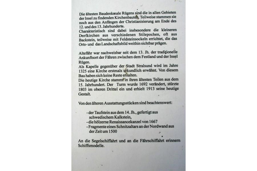 Geschichte der St. Nikolaikirche Altefähr