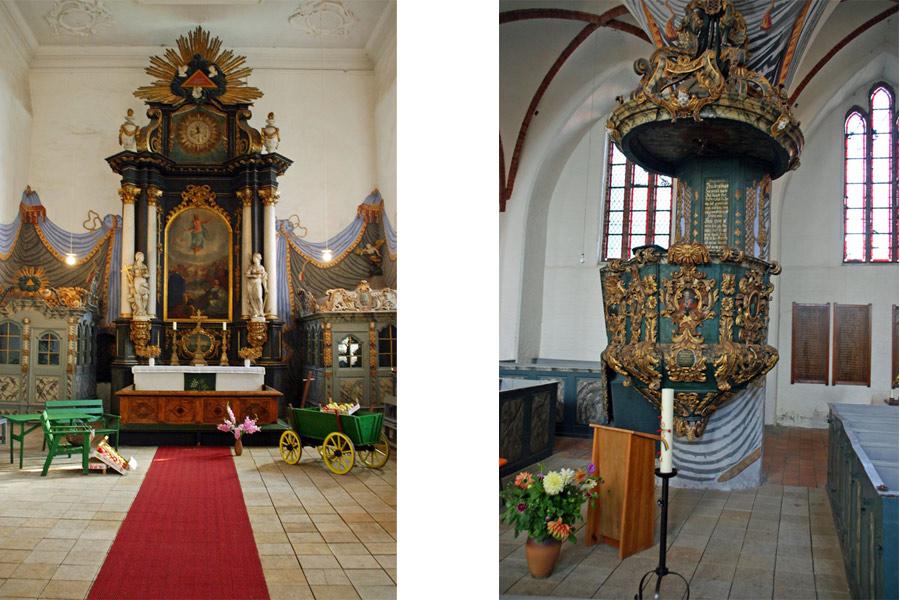 Altar und Kanzel St. Jacobi Kirche Gingst im Jahr 2005