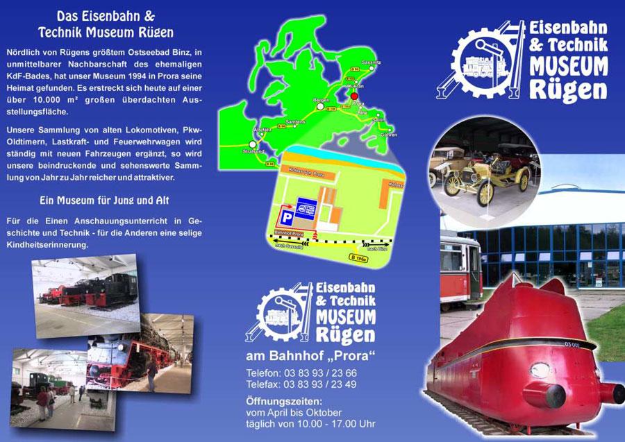 Flyer des Eisenbahn- und Technikmuseum Rügen
