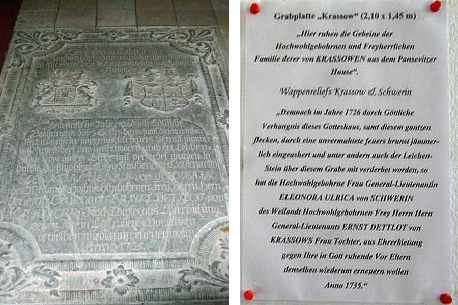 Text des Grabsteins St. Jacobi Kirche Gingst im Jahr 2005