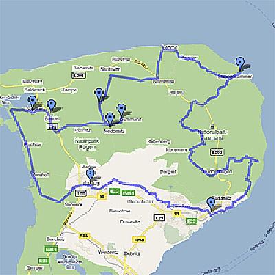 Karte Radtour Halbinsel Jasmund