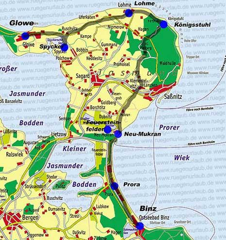 Karte Granitz Jasmund
