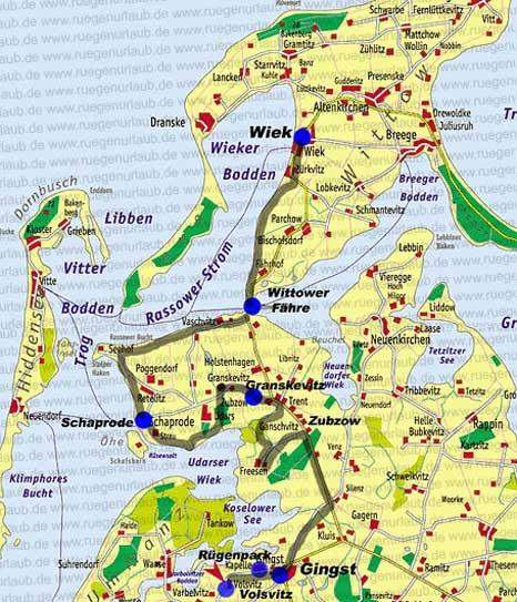 Karte Wittow West Rügen