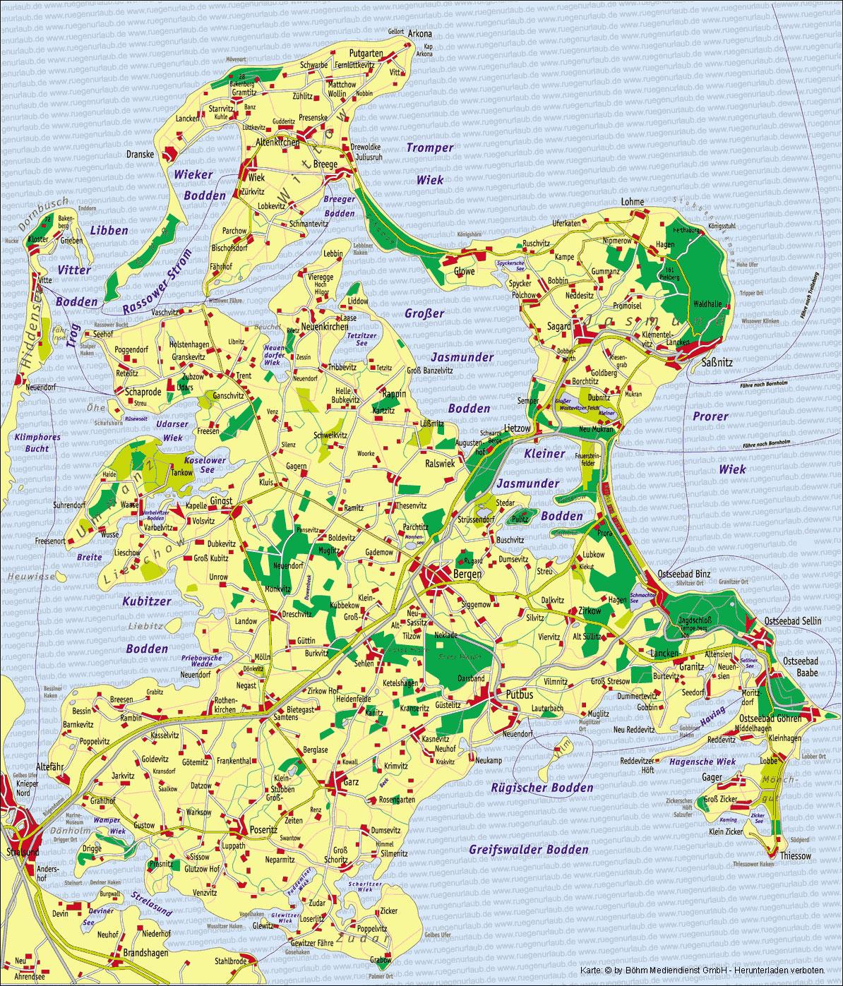 Karte Rügen.Karte Von Rügen Ruegenurlaub De