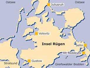 Rügenurlaub - Karte mit den Ferienorten