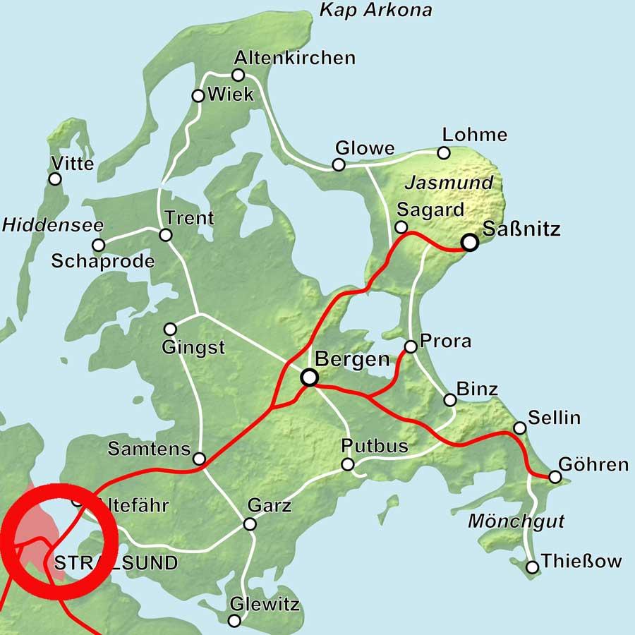 Lage Fähre Stralsund-Altefähr
