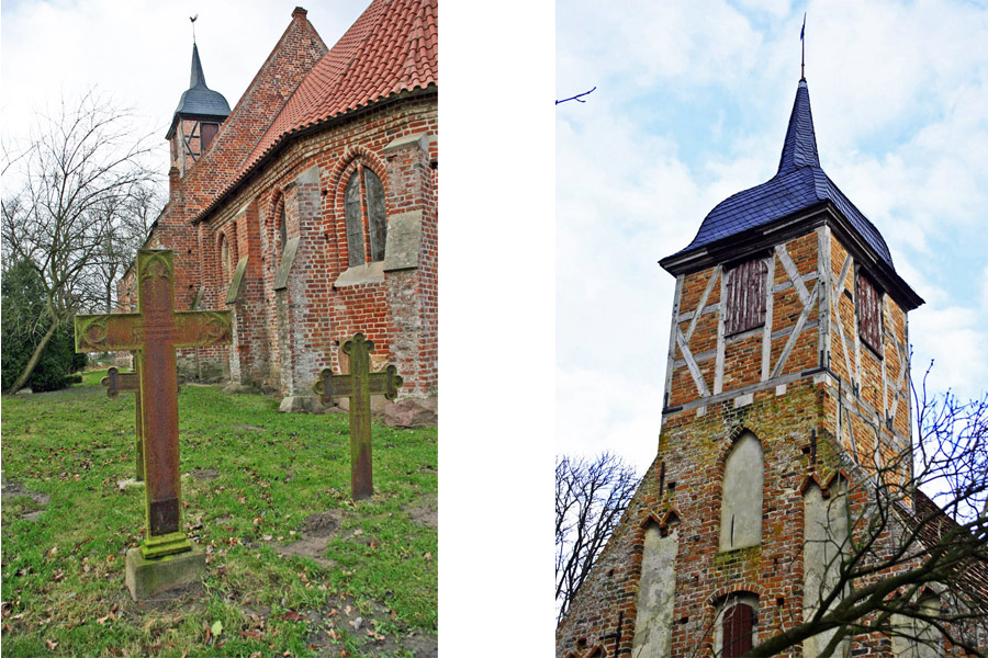 Friedhof und Turm der Dorfkirche Landow 2005