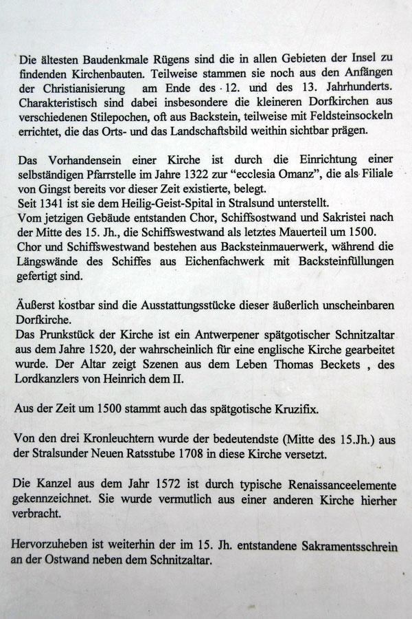 Beschreibung St. Marienkirche in Waase