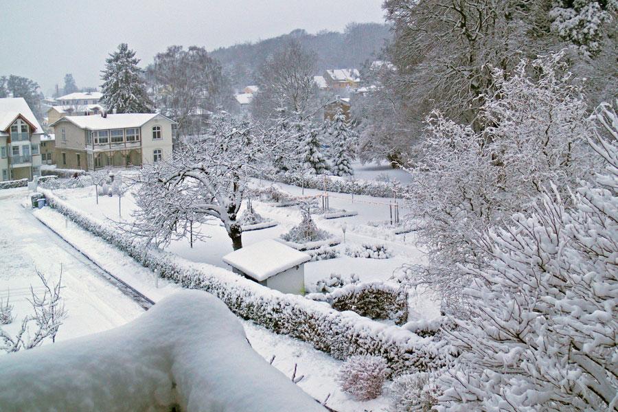Parkresidenz Concordia Blick vom Balkon im Winter