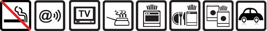 Nichtraucherwohnung, Internet WLAN, TV vorhanden, Küchenzeile, Backofen, Geschirrspülmaschine, Badewanne, Münz-Waschmaschine und -Wäschetrockner, Parkplatz auf dem Gelände