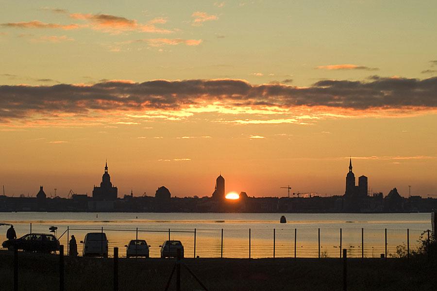 Stralsund im Sonnenuntergang