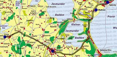 Karte Bergen Sassnitz