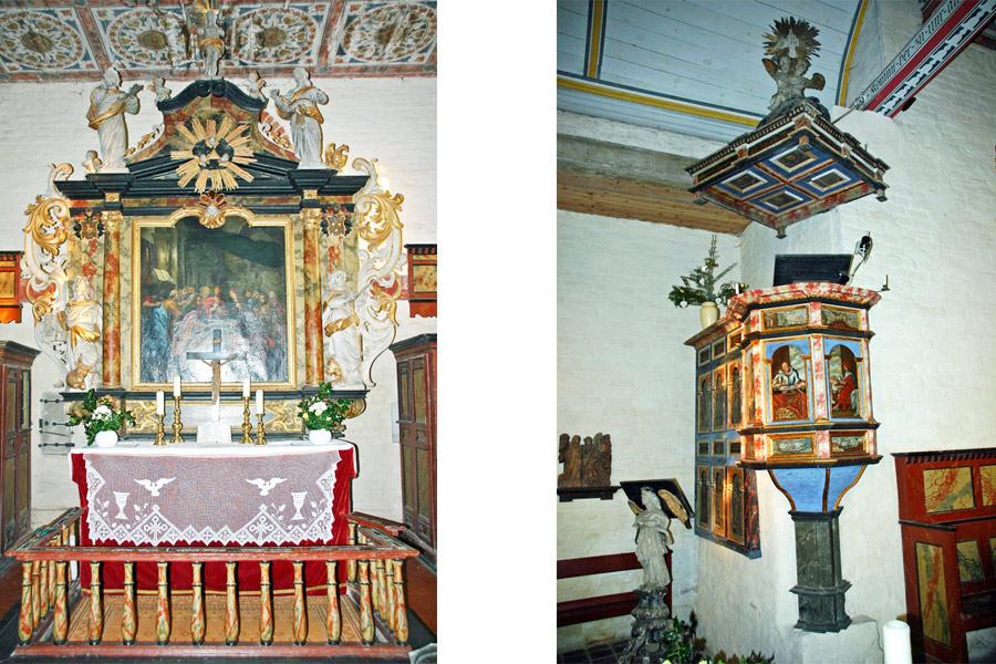 Altar und Kanzel der St. Nikolaikirche Altefähr im Jahr 2005