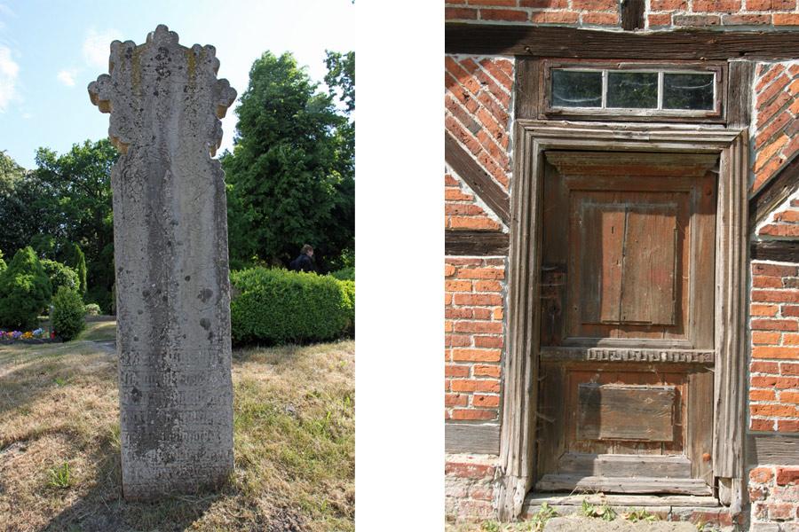 Mordwange und Tür der Dorfkirche Gustow im Jahr 2016