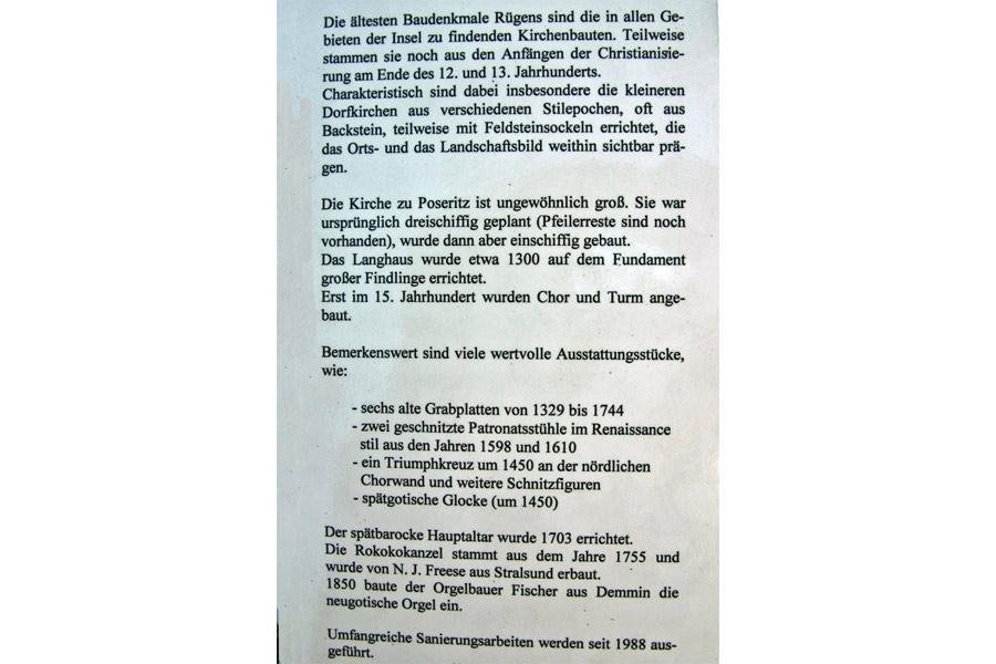 Geschichte der St. Marienkirche Poseritz im Jahr 2005