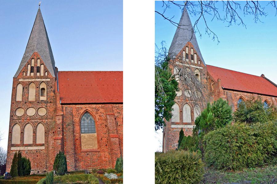 Turm der St. Marienkirche Poseritz im Jahr 2005