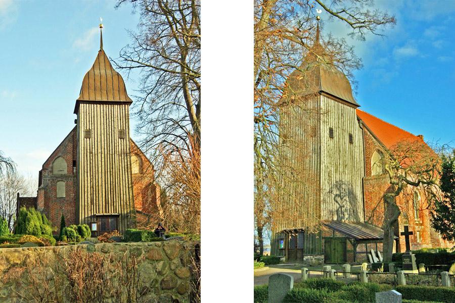 Turm der St. Laurentiuskirche Zudar im Jahr 2005