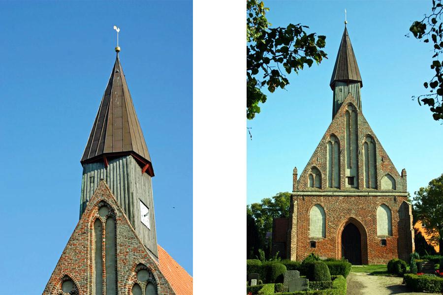 Turm Front St. Johanneskirche Rambin im Jahr 2005