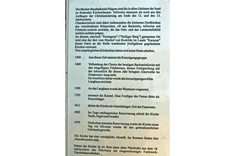 Geschichte der St. Stephanuskirche Swantow im Jahr 2005