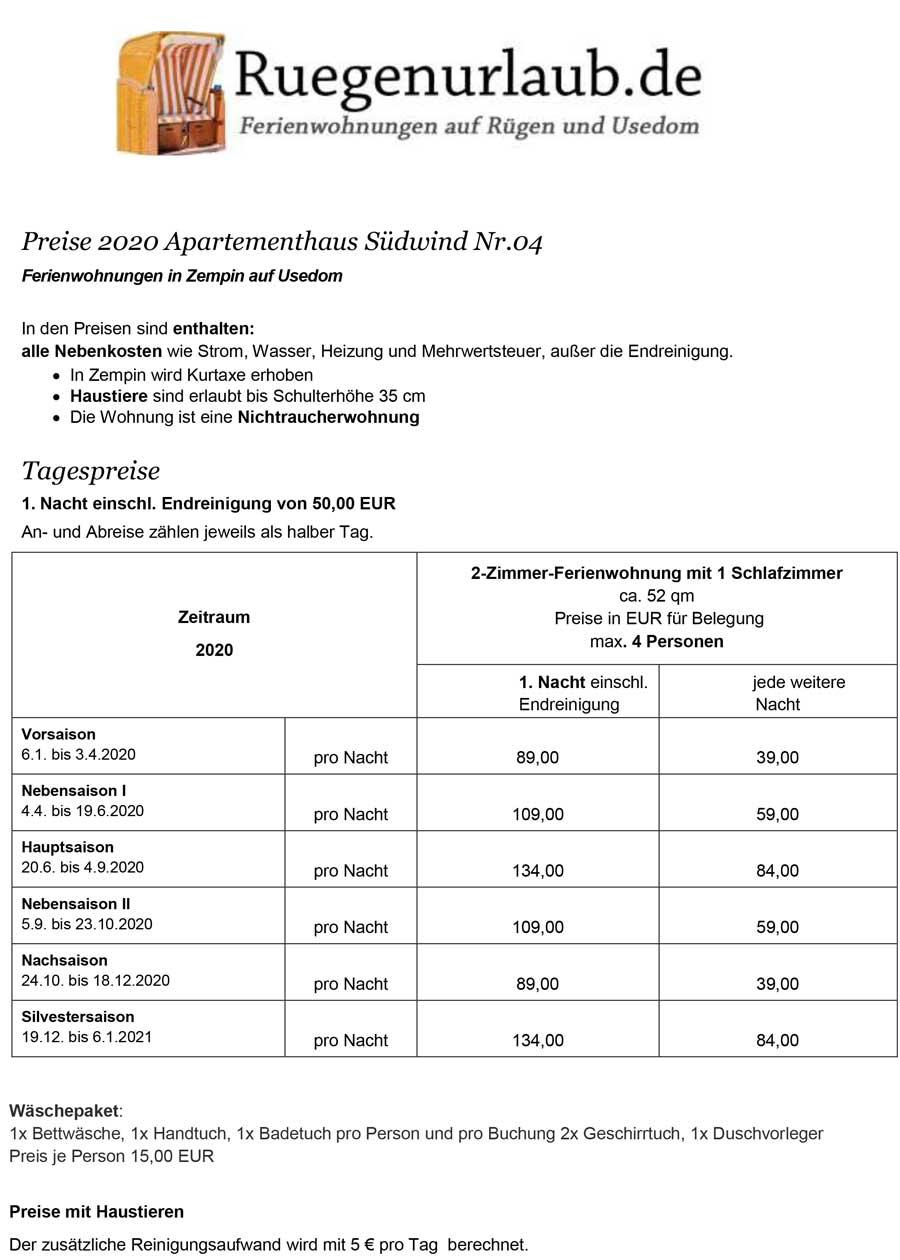 Preisliste 2019 Apartment Südwind 4