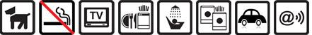 Hunde erlaubt, Nichtraucherwohnung, TV vorhanden, Geschirrspülmaschine, Dusche, Münz-Waschmaschine und -Wäschetrockner, Parkplatz auf dem Gelände, Funknetz WLan