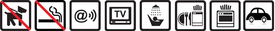 Hunde erlaubt, Nichtraucherwohnung, TV vorhanden, Dusche, Geschirrspüler, Parkplatz auf dem Gelände, Funknetz WLan